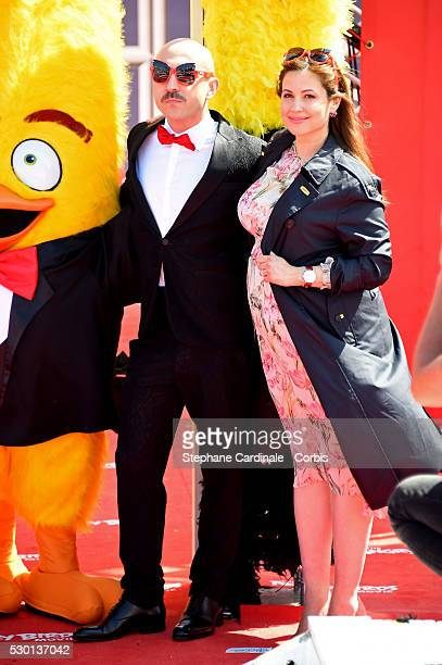 Italian actor Maccio Capatonda and Lebanese TV presenter Raya Abirached attend 'The Angry Birds Movie' Photocall during the 69th annual Cannes Film...