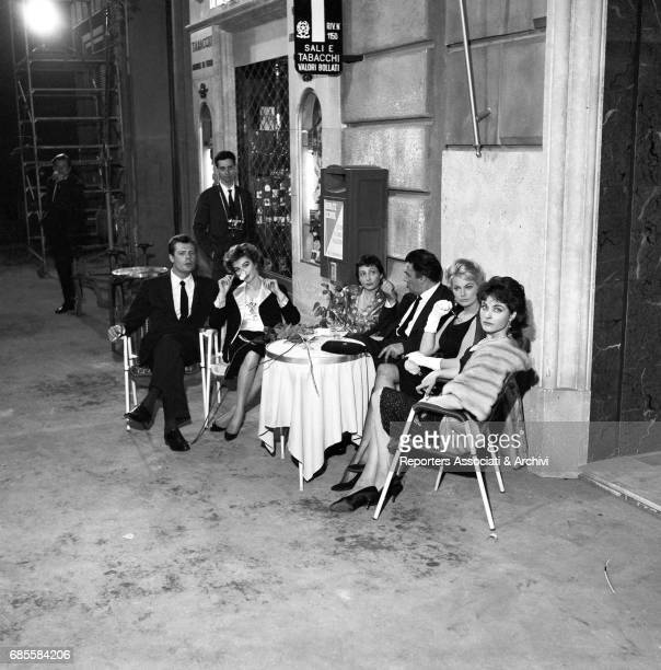 Italian actor Marcello Mastroianni Italian director Federico Fellini French actress Anouk Aim'e Swedishborn Italian actress Anita Ekberg and French...