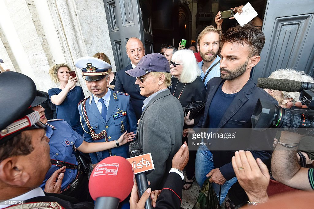 "Italian actor Mario Girotti (<a gi-track='captionPersonalityLinkClicked' href=/galleries/search?phrase=Terence+Hill&family=editorial&specificpeople=6235719 ng-click='$event.stopPropagation()'>Terence Hill</a>) attends the funeral of Italian actor Bud Spencer, born Carlo Pedersoli, at the ""church of the artists"", Santa Maria in Montesanto, on June 30, 2016 at Piazza del Popolo in Rome"