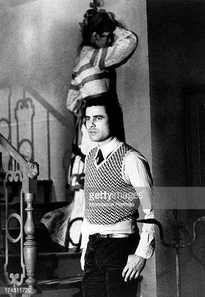 Italian actor Nino Castelnuovo and Italian actress Daria Nicolodi waiting on a staircase in the TV series Ritratto di una donna velata Rome 1974