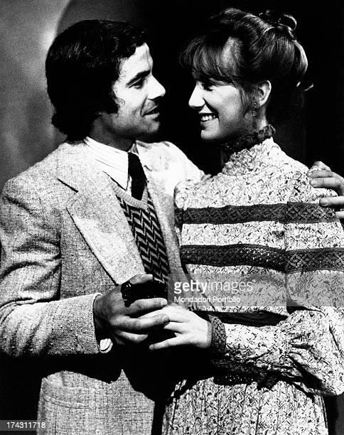 Italian actor Nino Castelnuovo hugging Italian actress Daria Nicolodi in the TV series Ritratto di una donna velata Rome 1974
