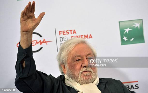 Italian actor Paolo Villaggio poses during a photocall at the Rome Film Festival on October 23 2015 in Rome AFP PHOTO / TIZIANA FABI