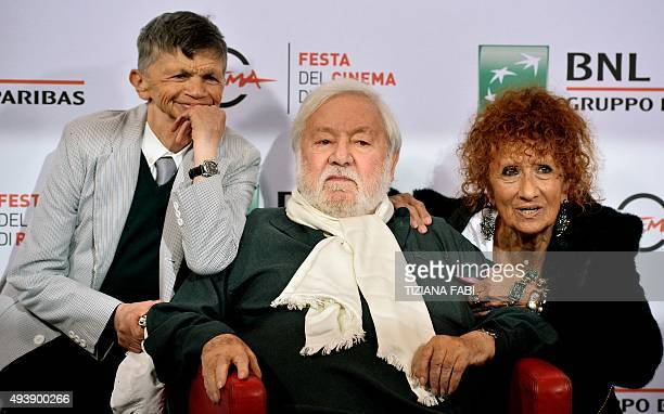 Italian actor Plinio Fernando Paolo Villaggio and Anna Mazzamauro pose during a photocall at the Rome Film Festival on October 23 2015 in Rome AFP...