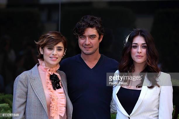 Italian actor Riccardo Scamarcio with Italian actresses Greta Scarano and Valentina Lodovini during photocall of 'La Verità sta in cielo' a film by...