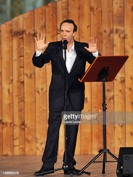 Italian actor Roberto Benigni recites Dante's Divine Comedy Inferno at Piazza Santa Croce on July 20 2012 in Florence Italy