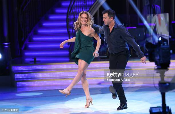 Italian actor Simone Montedoro and his wife Lara Carnevale perform on the Italian TV show 'Ballando Con Le Stelle' at Auditorium Rai on April 22 2017...