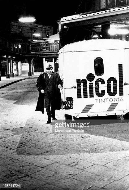 Italian actor singer and songwriter Enzo Jannacci acting in the episode The Refrigerator from the film The Couples Turin 1970