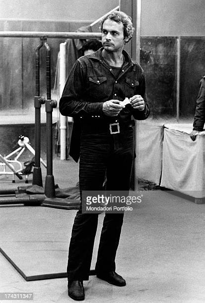 Italian actor Terence Hill holding an applecore on the set of the film Watch Out We're Mad Rome 1974