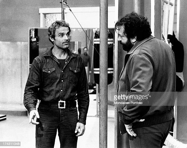 Italian actor Terence Hill talking to Italian actor Bud Spencer in the film Watch Out We're Mad Rome 1974