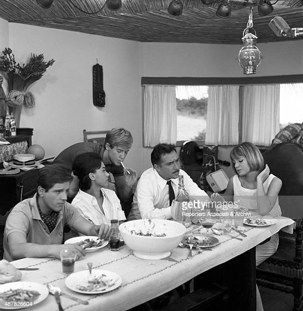 Italian actor Ugo Tognazzi and French actress Catherine Spaak having lunch in Crazy Desire Italy 1962