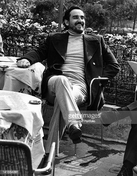 Italian actor Vittorio Gassman laughing and relaxing 1970s