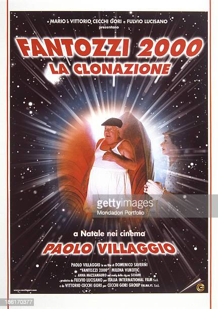Italian actor writer and comedian Paolo Villaggio wearing beret undershirt and panties in the poster of the film Fantozzi 2000 La clonazione On his...