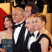 Italian actors Anna Bonaiuto Toni Servillo director Paolo Sorrentino and his wife and actor Carlo Buccirosso pose as they arrive to attend the...