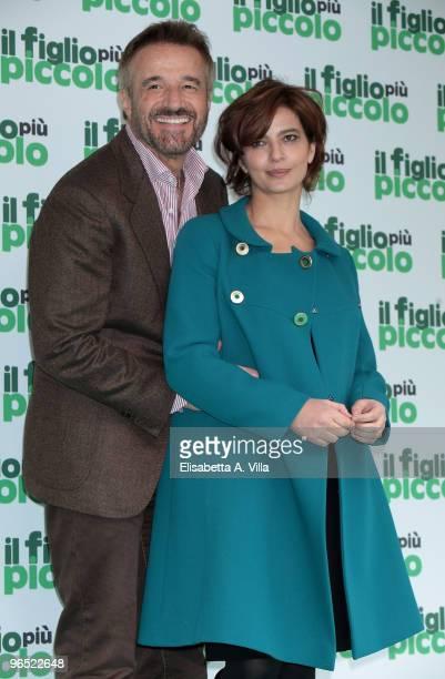 Italian actors Christian De Sica and Laura Morante attend 'Il Figlio Piu Piccolo' photocall at Embassy Cinema on February 9 2010 in Rome Italy