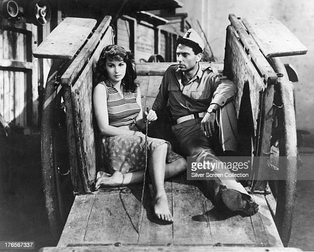 Italian actors Elsa Martinelli as Elena and Folco Lulli as Pietro in 'La Risaia' directed by Raffaello Matarazzo 1956