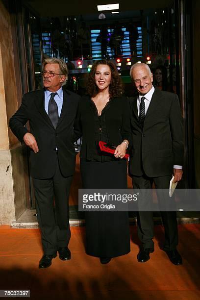 Italian actors Giancarlo Giannini Stefania Sandrelli and director Giorgio Capitani attend the premiere of television movie Il Generale Della Chiesa...