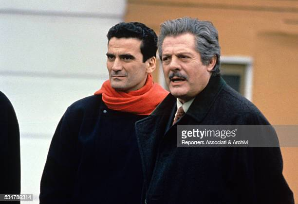 Italian actors Marcello Mastroianni and Massimo Troisi having a break on the set of the film What Time Is It 1989