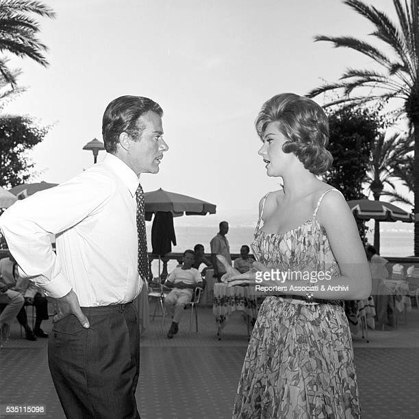 Italian actors Massimo Serato and Sylva Koscina chatting while having a break on the set of the film Love the Italian Way Ischia 22nd June 1960