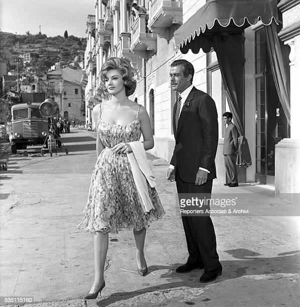 Italian actors Massimo Serato and Sylva Koscina outside a hotel in the film Love the Italian Way Ischia 22nd June 1960