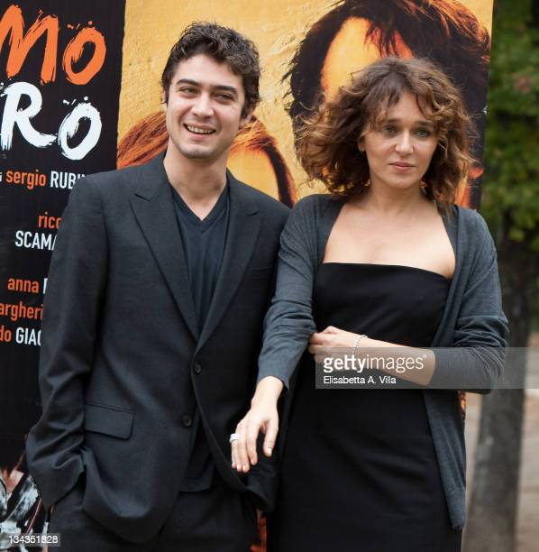 Italian actors Riccardo Scamarcio and Valeria Golino attend 'L'Uomo Nero' photocall at Villa Borghese on November 30 2009 in Rome Italy