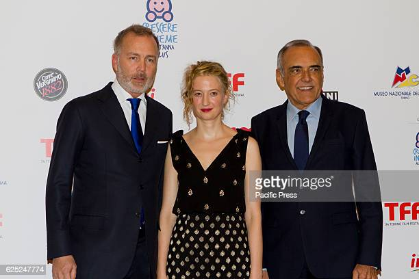 Italian actress Alba Rohrwacher with Paolo Damilano and Alessandro Barbera take part to charity dinner during Torino Film Festival