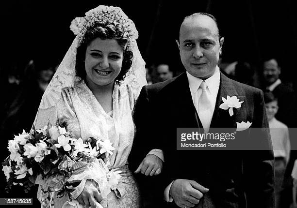 Italian actress and Claretta Petacci 's sister Myriam Petacci marries the Italian marquis Armando Boggiano in the church of Santa Maria degli Angeli...
