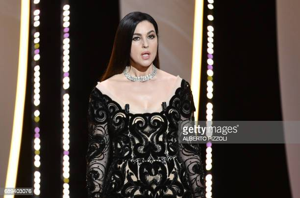 Italian actress and master of ceremonies Monica Bellucci speaks on May 28 2017 during the closing ceremony of the 70th edition of the Cannes Film...