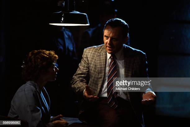 Italian actress and model Isabella Rossellini and Welsh actor Anthony Hopkins on the set of The Innocent by British director screenwriter actor and...