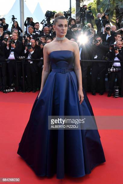 Italian actress and model Sveva Alviti poses as she arrives on May 17 2017 for the screening of the film 'Ismael's Ghosts' during the opening...