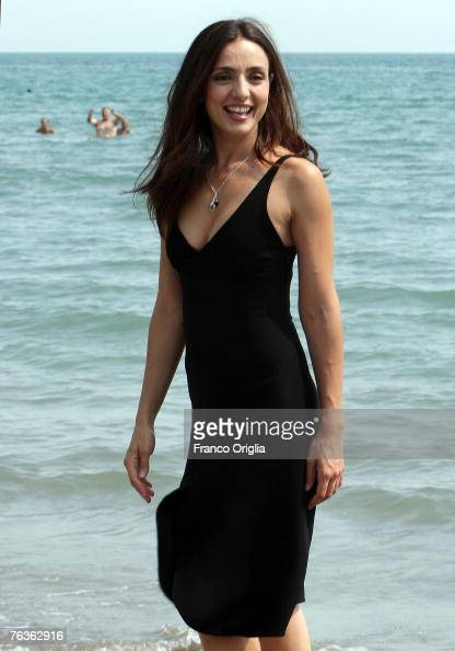 Italian actress and opening night host Ambra Angiolini poses during a photocall at the Hotel Excelsior prior to the 64th Venice Film Festival on...