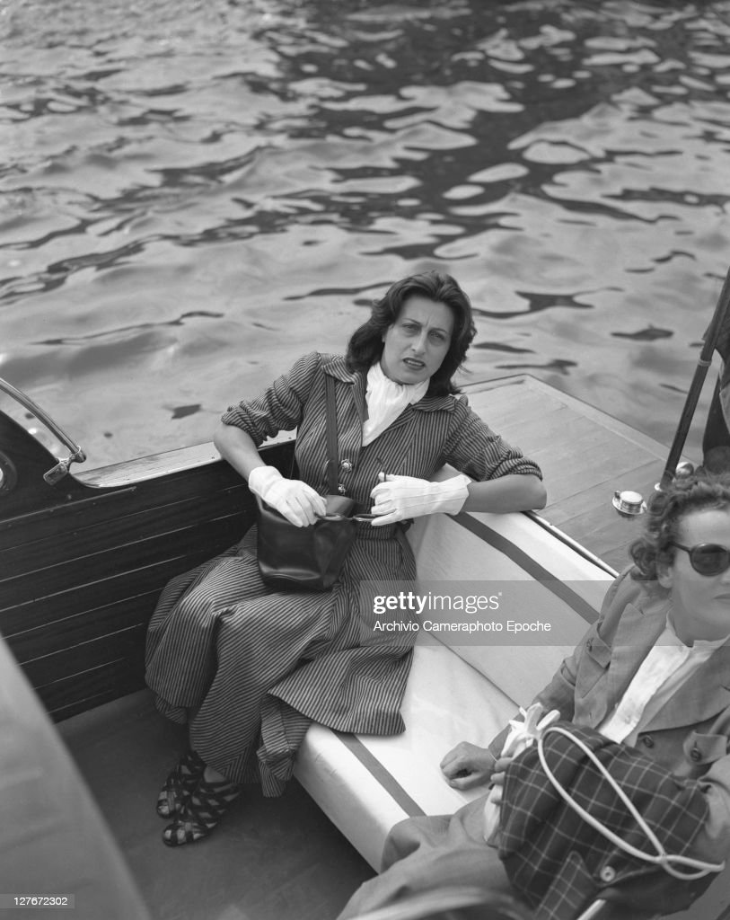 Italian actress Anna Magnani on a water taxi Venice 1949
