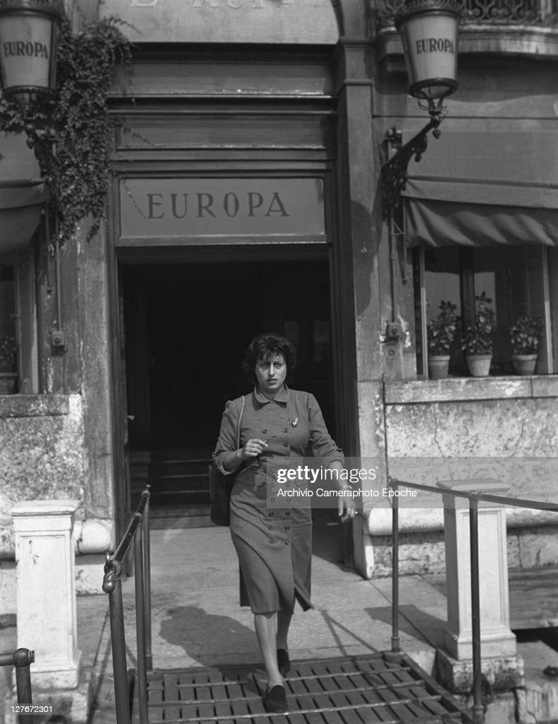 Italian actress Anna Magnani outside her Hotel Venice 1950