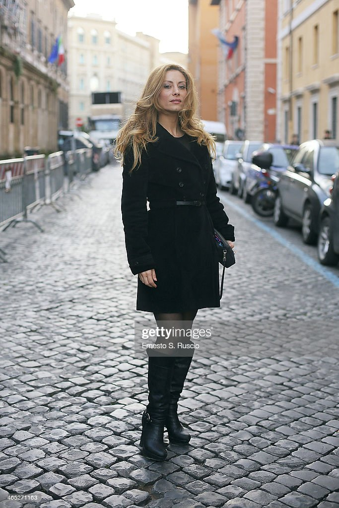 Italian actress Antonella Salvucci wears Gai Mattiolo on day 3 Rome Fashion Week Spring/Summer 2014, on January 26, 2014 in Rome, Italy.