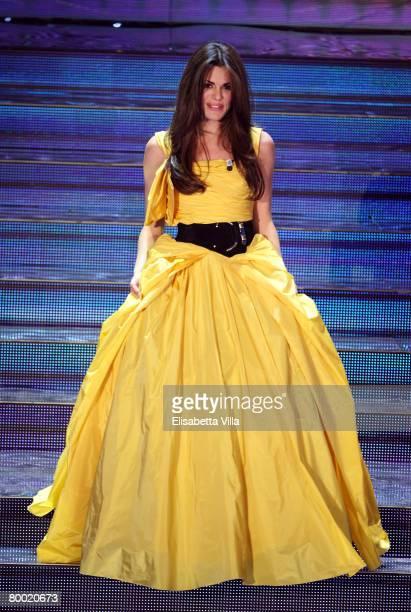 Italian actress Bianca Guaccero presents the 58th Sanremo Festival at Teatro Ariston on February 26 2008 in Sanremo Italy