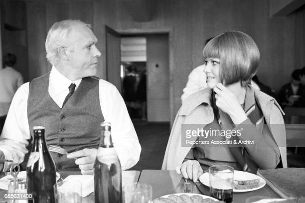 Italian actress Claudia Cardinale and Scottish actor Sean Connery having lunch on the set of The Red Tent USSR 1969