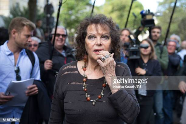 Italian Actress Claudia Cardinale attends Mireille Darc's Funeral at Eglise Saint Sulpice on September 1 2017 in Paris France French actress died...