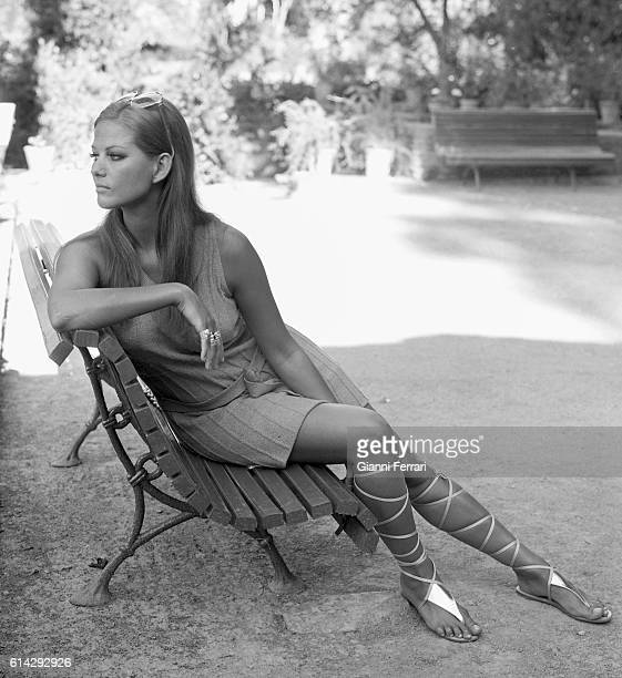 Italian actress Claudia Cardinale during a visit to the Alhambra Granada AndaluciaSpain