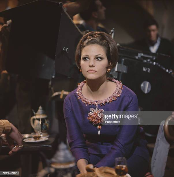 Italian actress Claudia Cardinale pictured dressed in character as Princess Dala on the set of the film 'The Pink Panther' in Rome Italy in 1962