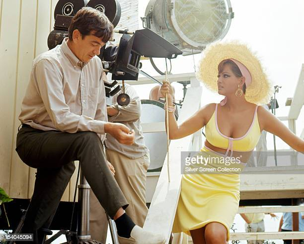 Italian actress Claudia Cardinale with Scottish American director Alexander Mackendrick on the set of 'Don't Make Waves' 1967