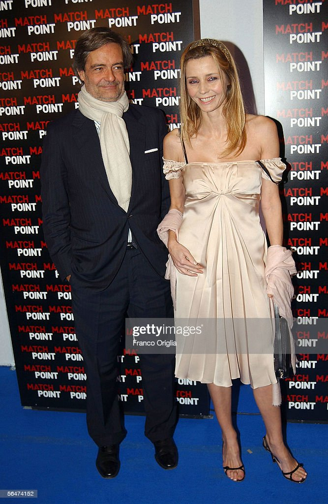 Italian actress Eliana Miglio and Paolo Glisenti attend the premiere of Woody Allen's new film 'Match Point' at the Embassy Cinema on December 20, 2005 in Rome, Italy.