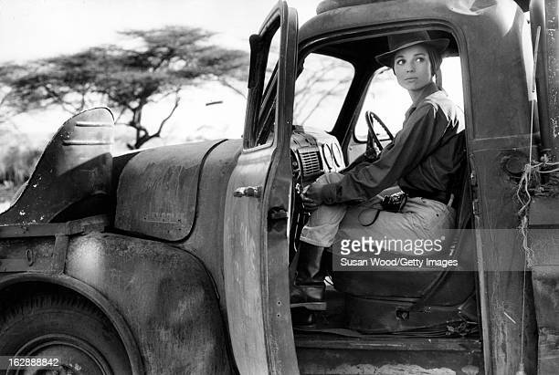 Italian actress Elsa Martinelli sits in a truck during the filming of 'Hatari' Tanzania 1962