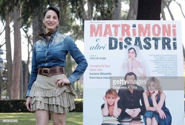 Italian actress Francesca Inaudi attends a photocall for the movie 'Matrimoni E Altri Disastri' at Villa Borghese on April 20 2010 in Rome Italy