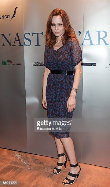 Italian actress Francesca Neri attends the the 2009 Nastri D'Argento Nominations dinner party at Villa Medici on May 28 2009 in Rome Italy