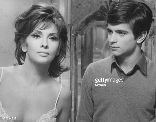 Italian actress Gina Lollobrigida and actor Paolo Turco filming 'Un Bellissimo Novembre' in Catania Sicily March 1968