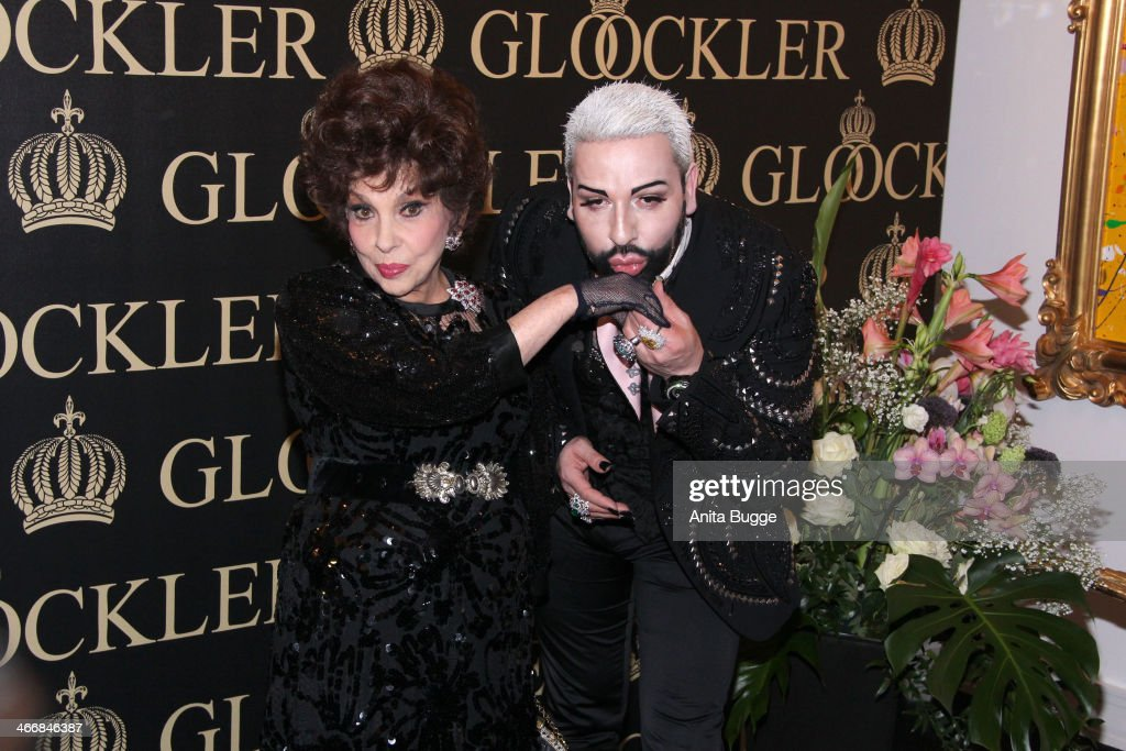Italian actress <a gi-track='captionPersonalityLinkClicked' href=/galleries/search?phrase=Gina+Lollobrigida&family=editorial&specificpeople=93465 ng-click='$event.stopPropagation()'>Gina Lollobrigida</a> and designer Harald Gloeoeckler attend the party to celebrate their 20 years of friendship on February 4, 2014 in Berlin, Germany.