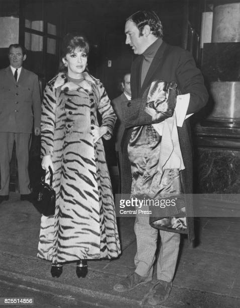 Italian actress Gina Lollobrigida leaves the Savoy Hotel in London for Elstree Studios 3rd January 1970 She is wearing a tigerskin fur coat estimated...