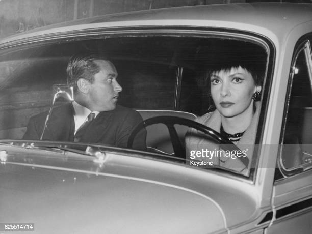 Italian actress Gina Lollobrigida returns home from a nightclub with her husband Milko Skofic Rome Italy 9th April 1962