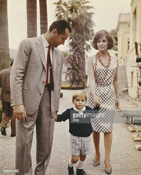 Italian actress Gina Lollobrigida with her husband Mirko Skofic and their son Mirko Skofic Jr on a film set circa 1952