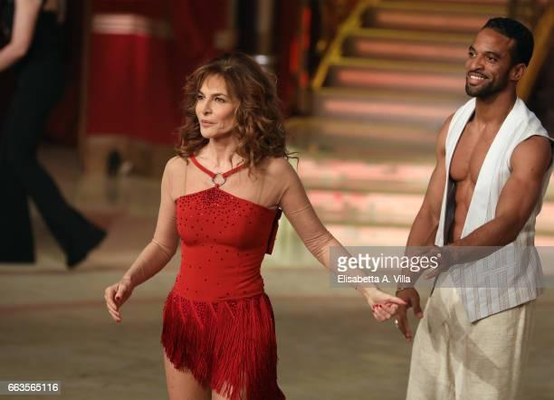 Italian actress Giuliana De Sio and her dance partner Maykel Fonts perform on the Italian TV show 'Ballando Con Le Stelle' at Auditorium Rai on April...