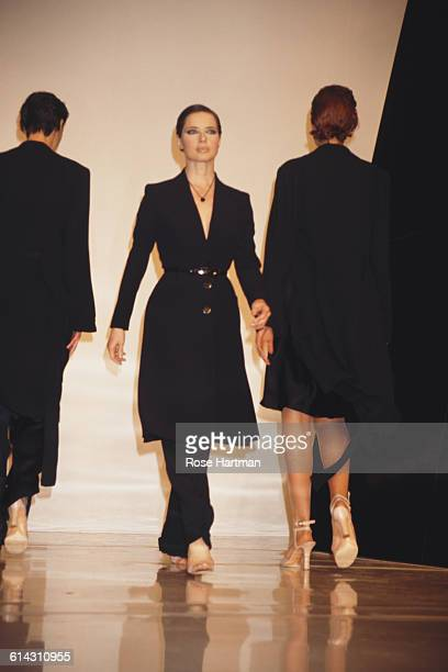 Italian actress Isabella Rossellini at the Donna Karan Spring 1995 fashion show New York City 1994
